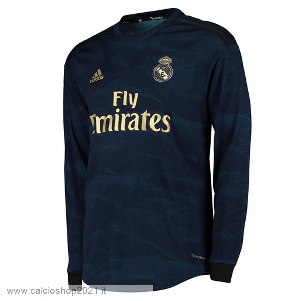 Away Manica lunga Real Madrid 2019 2020 Blu Maglie Originali Calcio