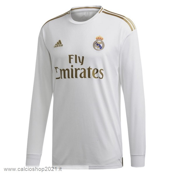 Home Manica lunga Real Madrid 2019 2020 Bianco Maglie Originali Calcio