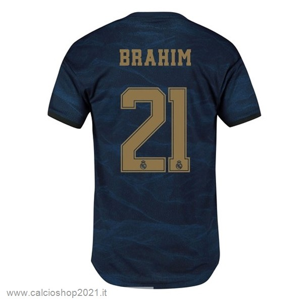 NO.21 Brahim Away Maglia Real Madrid 2019 2020 Blu Maglie Originali Calcio